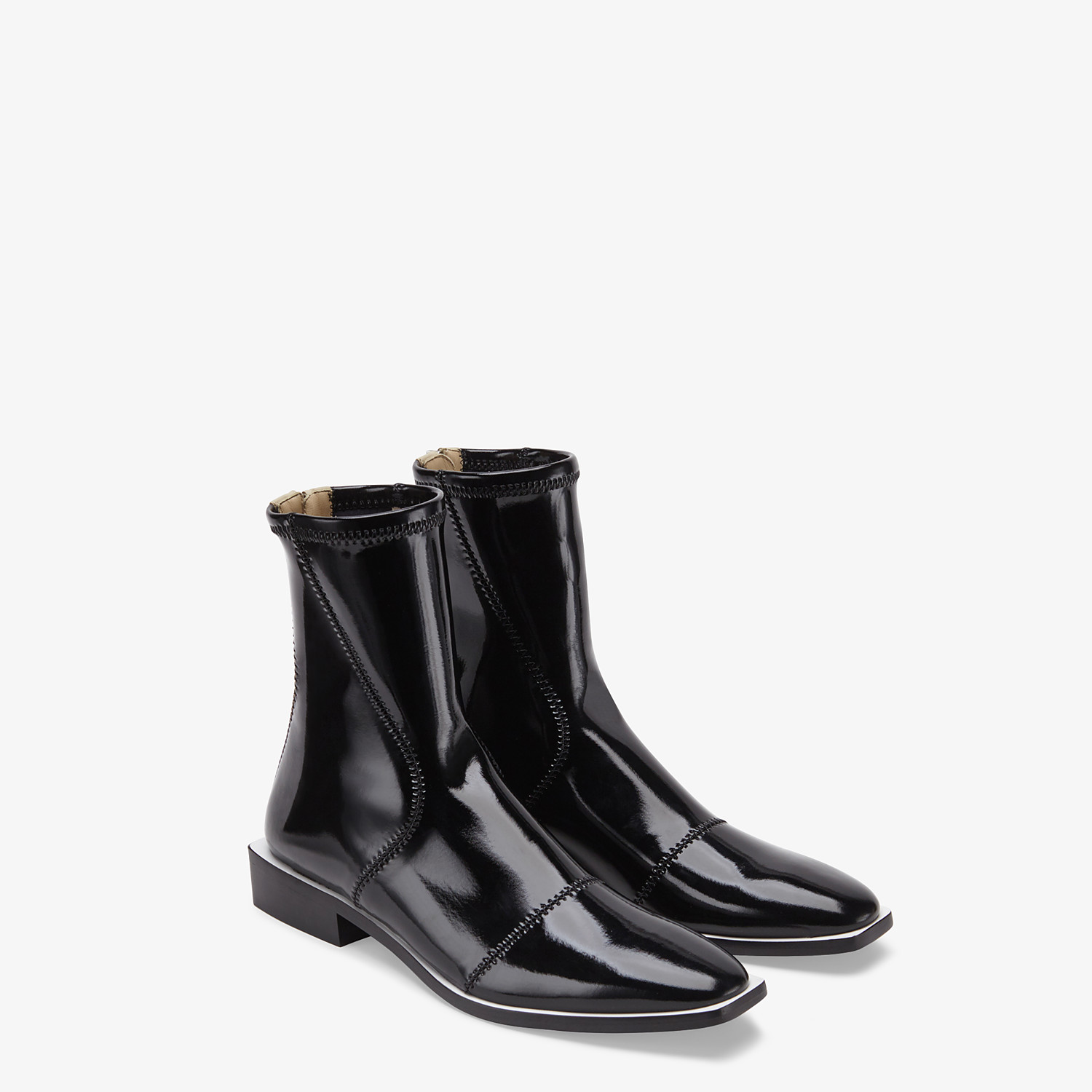 FENDI FFRAME - Glossy black neoprene low ankle boots - view 4 detail