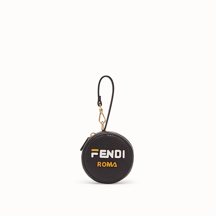 FENDI BACKPACK CHARM - Black leather charm with fabric backpack - view 1 detail