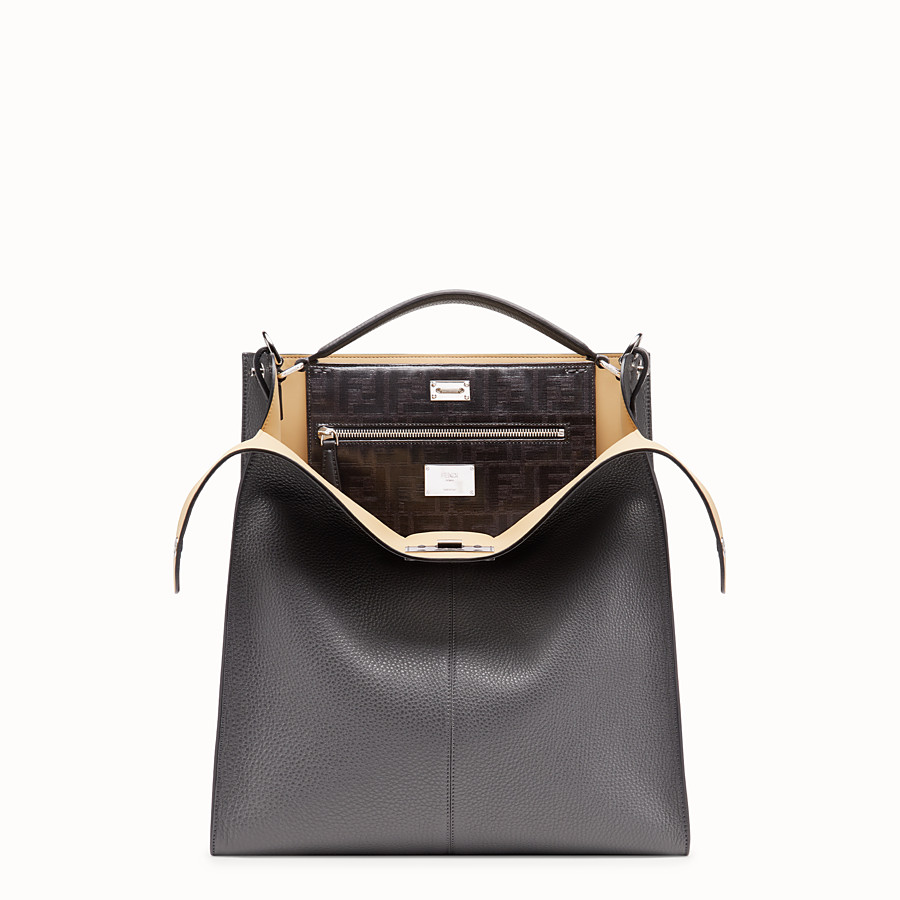 FENDI PEEKABOO X-LITE FIT - Tasche aus Leder in Grau - view 1 detail