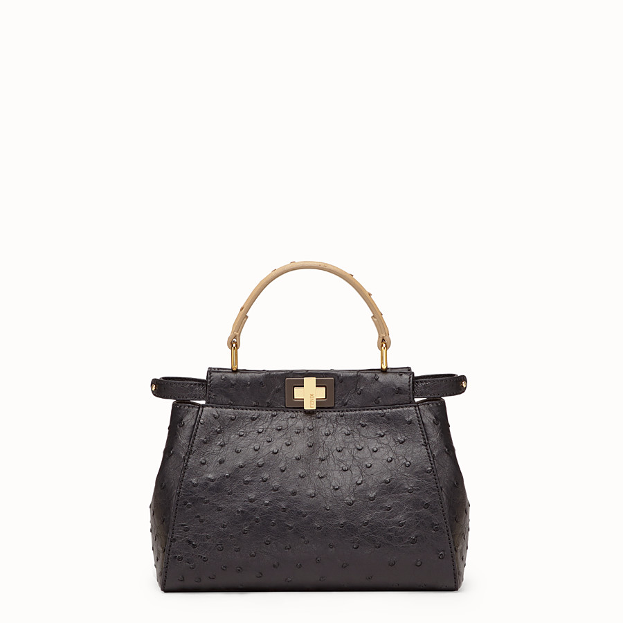 FENDI PEEKABOO MINI - Black ostrich leather bag - view 1 detail