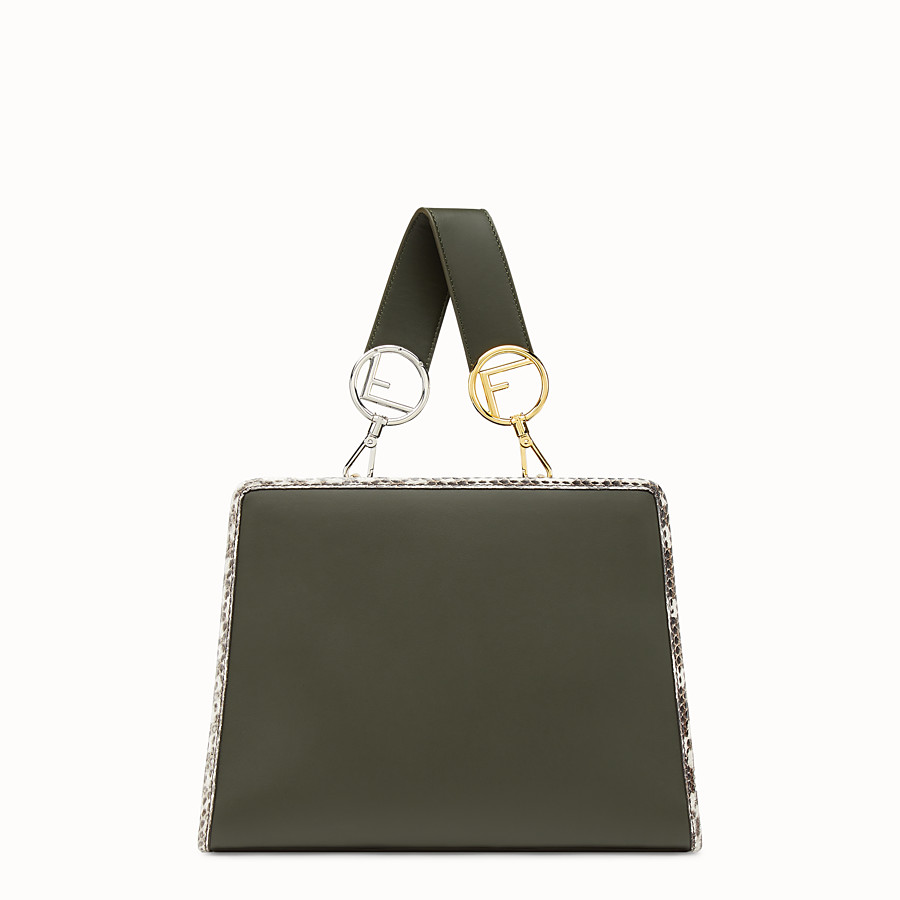 FENDI RUNAWAY SMALL - Green leather bag with exotic details - view 3 detail