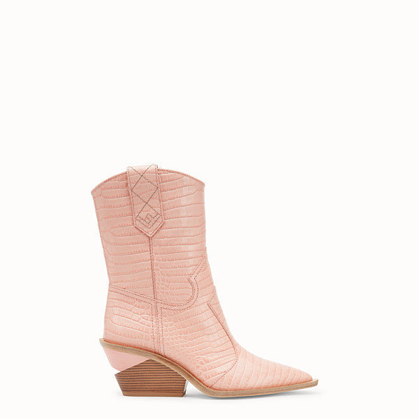 FENDI BOOTS - Pink crocodile-embossed ankle boots - view 1 small thumbnail