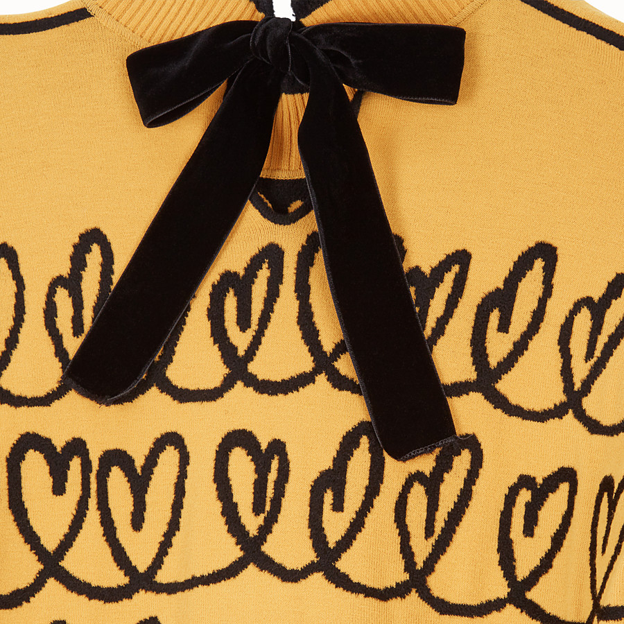FENDI DRESS - Yellow wool maxi pullover - view 3 detail