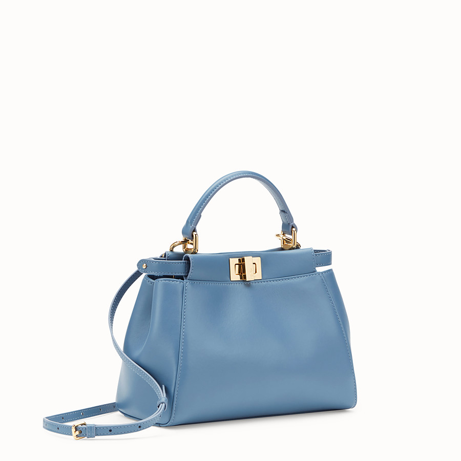 FENDI PEEKABOO ICONIC MINI - Pale blue nappa leather bag - view 2 detail