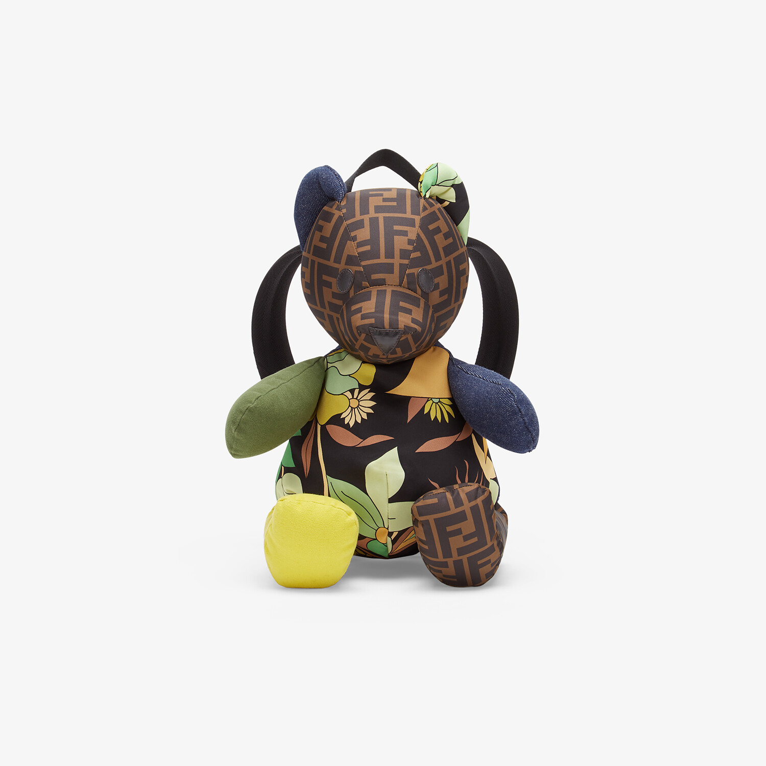 FENDI TEDDY BEAR BACKPACK - Teddy bear backpack in multicolor patchwork fabric with FF logo - view 1 detail