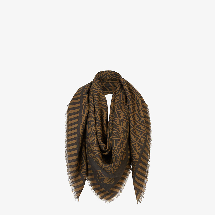 FENDI SCARF - Brown cashmere, wool and silk scarf - view 2 detail