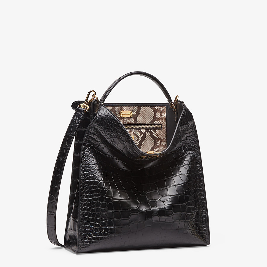 FENDI PEEKABOO X-LITE FIT - Black alligator leather bag - view 3 detail