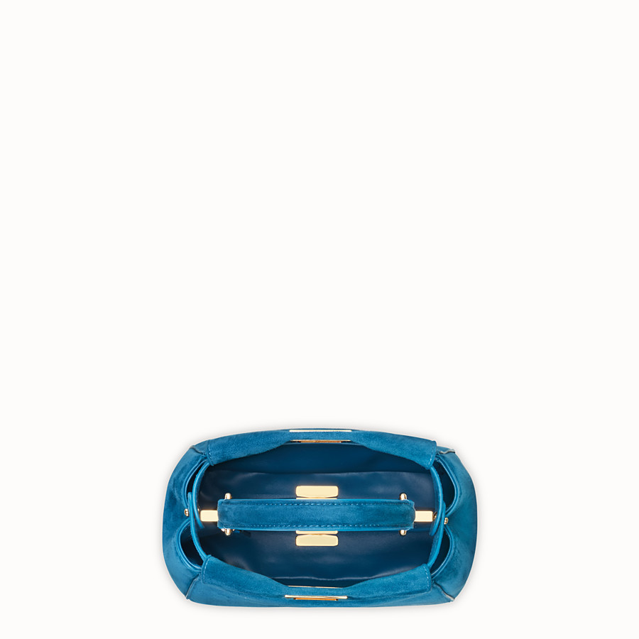 FENDI PEEKABOO ICONIC XS - Blue suede mini bag - view 5 detail