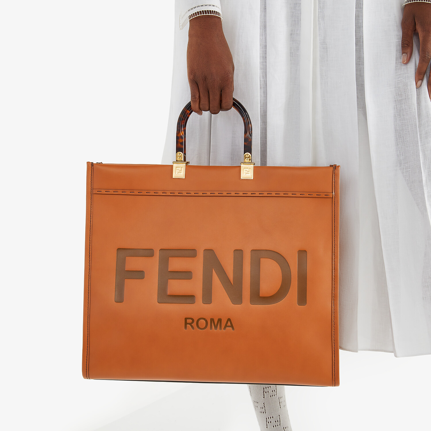 FENDI SUNSHINE SHOPPER - Brown leather shopper - view 2 detail