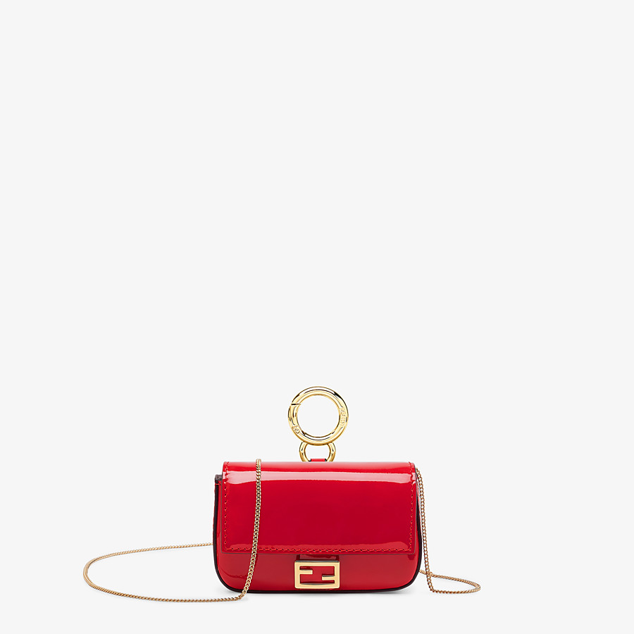 FENDI NANO BAGUETTE CHARM - Red patent leather charm - view 1 detail
