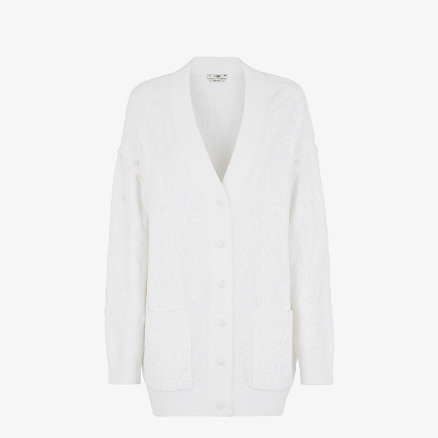 FENDI CARDIGAN - White cotton cardigan - view 1 detail