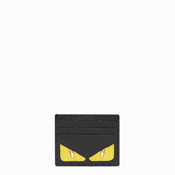 FENDI CARD HOLDER - Black Roman leather card holder with exotic leather details - view 1 small thumbnail