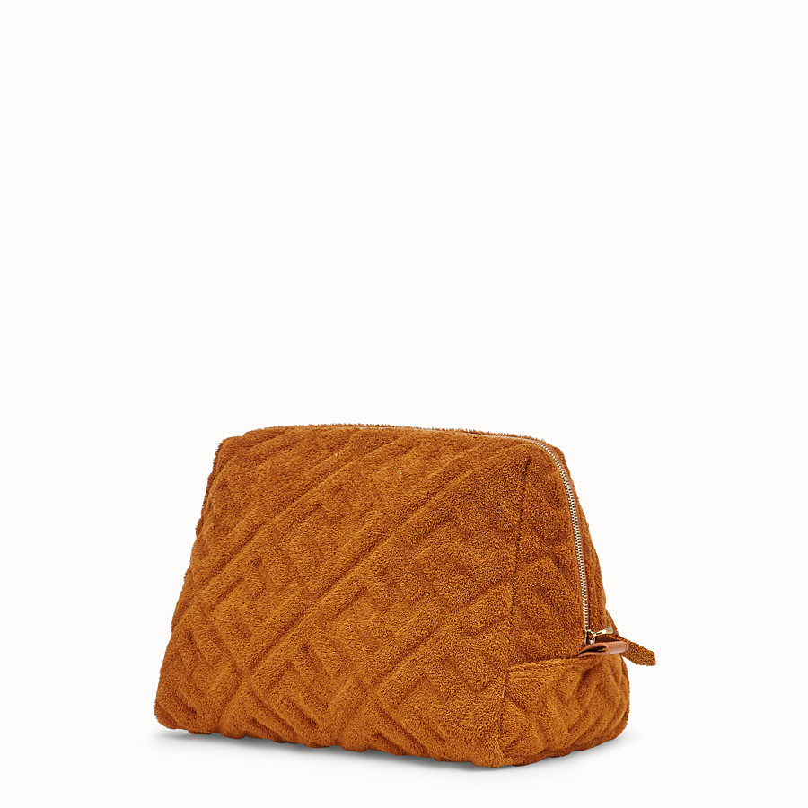 FENDI MEDIUM BEAUTY POUCH - Brown towelling toiletry case - view 2 detail
