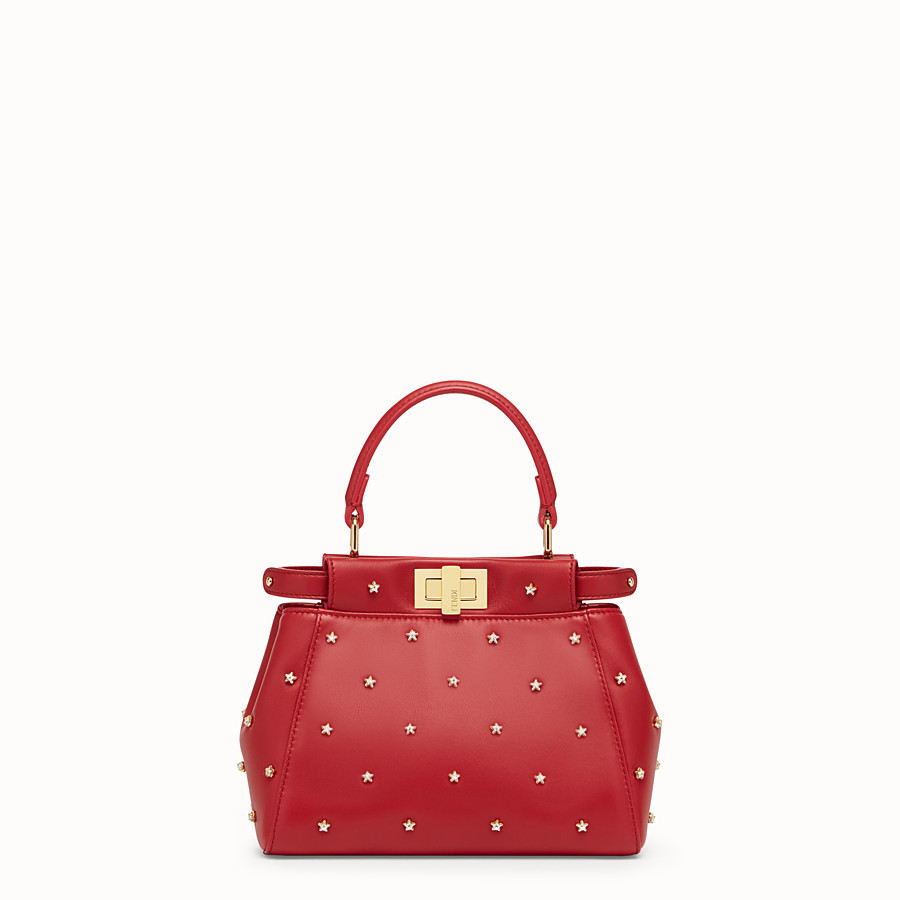 FENDI PEEKABOO ICONIC XS - Red leather mini-bag - view 1 detail