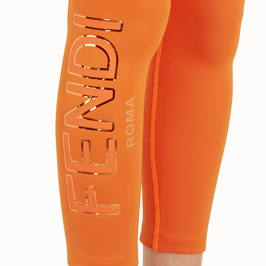 FENDI LEGGINGS - Orange tech fabric trousers - view 4 detail