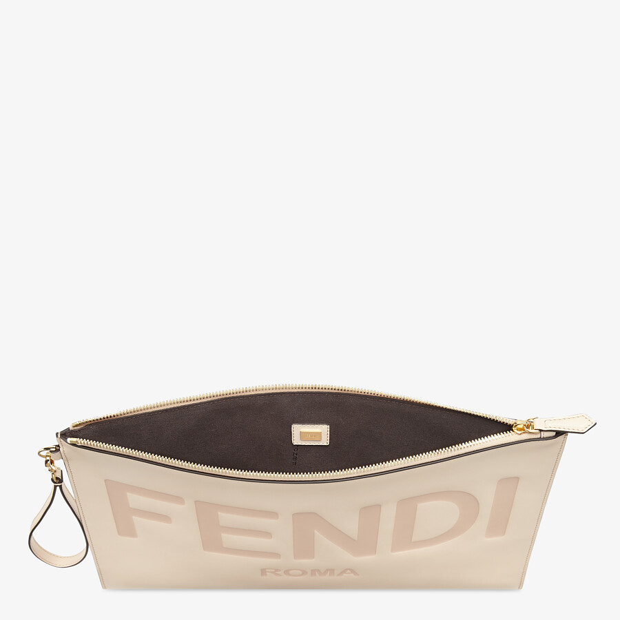 FENDI LARGE FLAT POUCH - Pink leather pouch - view 3 detail