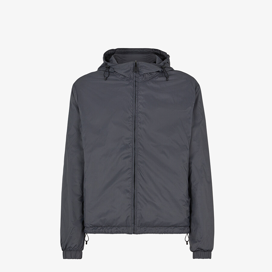 FENDI WINDBREAKER - Gray nylon jacket - view 1 detail