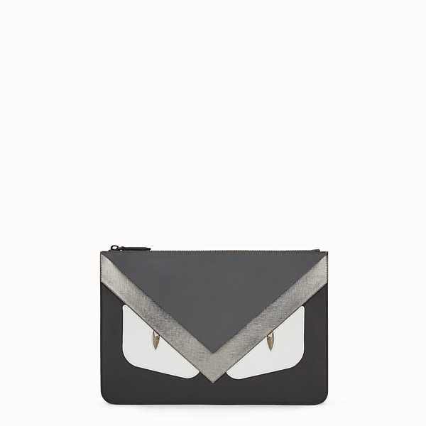 FENDI POUCH - in black Roman leather with insert - view 1 small thumbnail