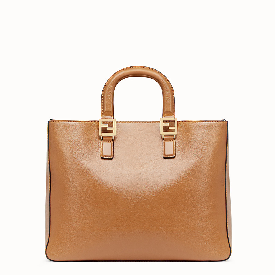 FENDI FF TOTE MEDIUM - Brown leather bag - view 3 detail