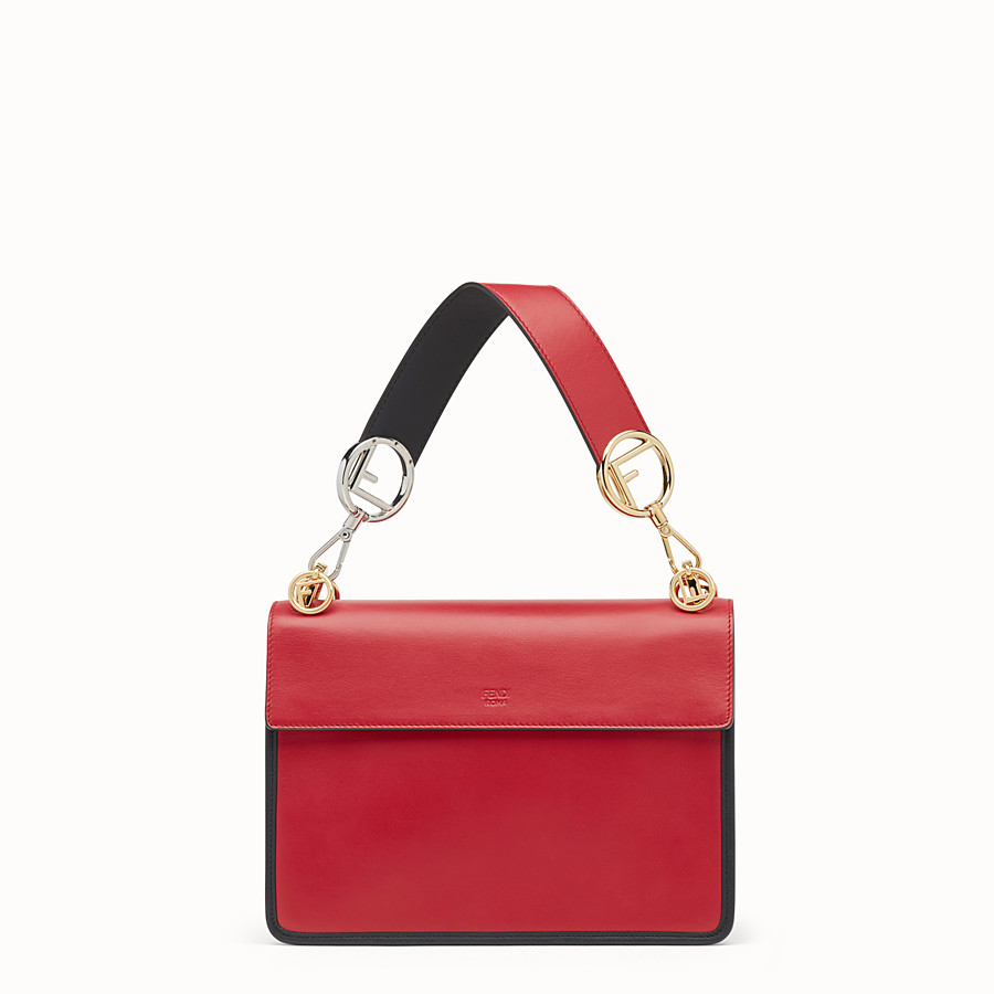 FENDI KAN I LOGO - Red leather bag - view 3 detail