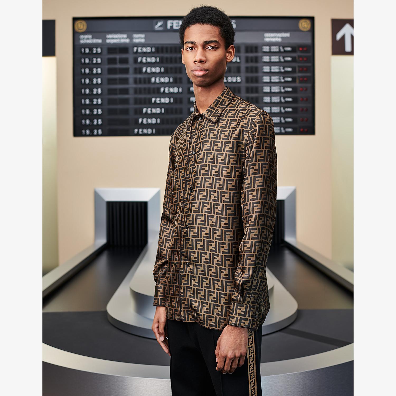 FENDI SHIRT - Brown silk shirt - view 4 detail