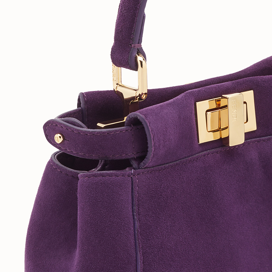 FENDI PEEKABOO ICONIC XS - Purple suede mini-bag - view 5 detail
