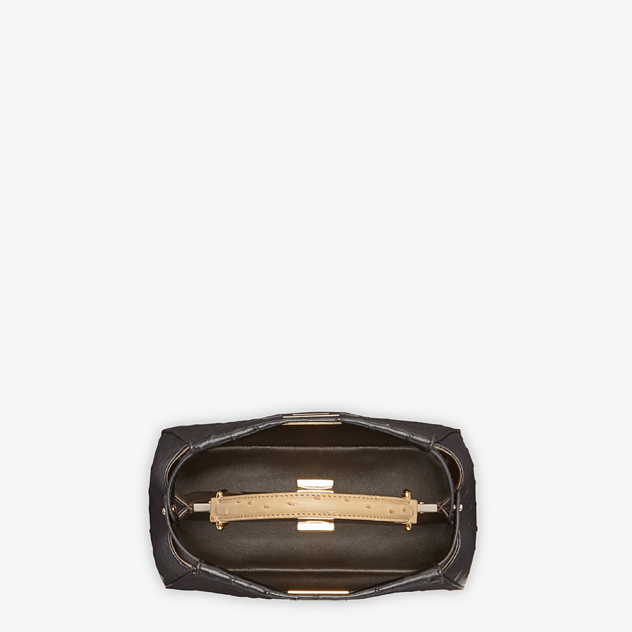 FENDI PEEKABOO ICONIC MINI - Black ostrich leather bag - view 4 detail