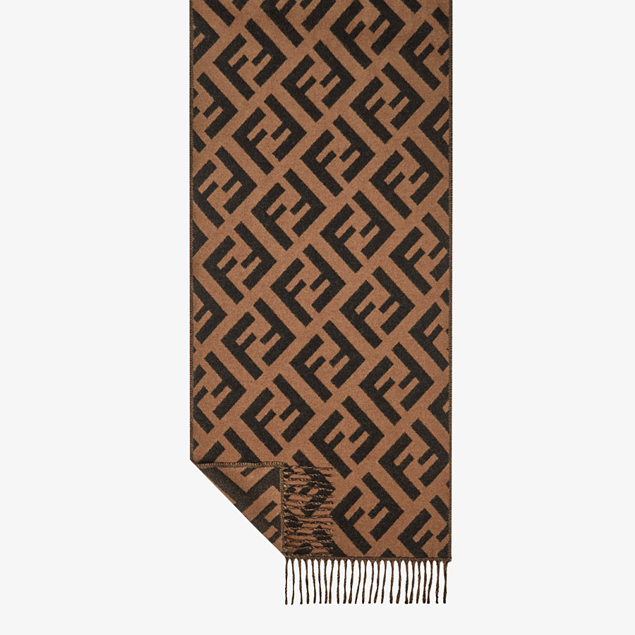 FENDI FF SCARF - Brown cashmere scarf - view 1 detail