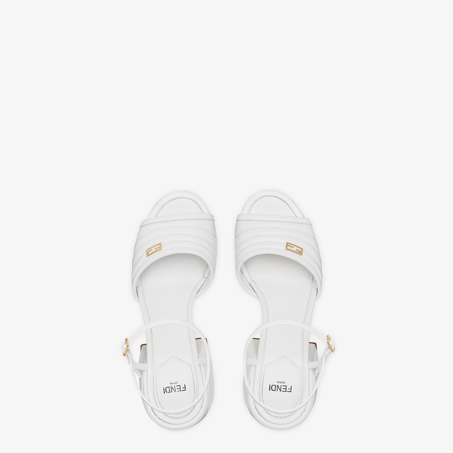 FENDI SANDALS - White leather Promenades - view 4 detail