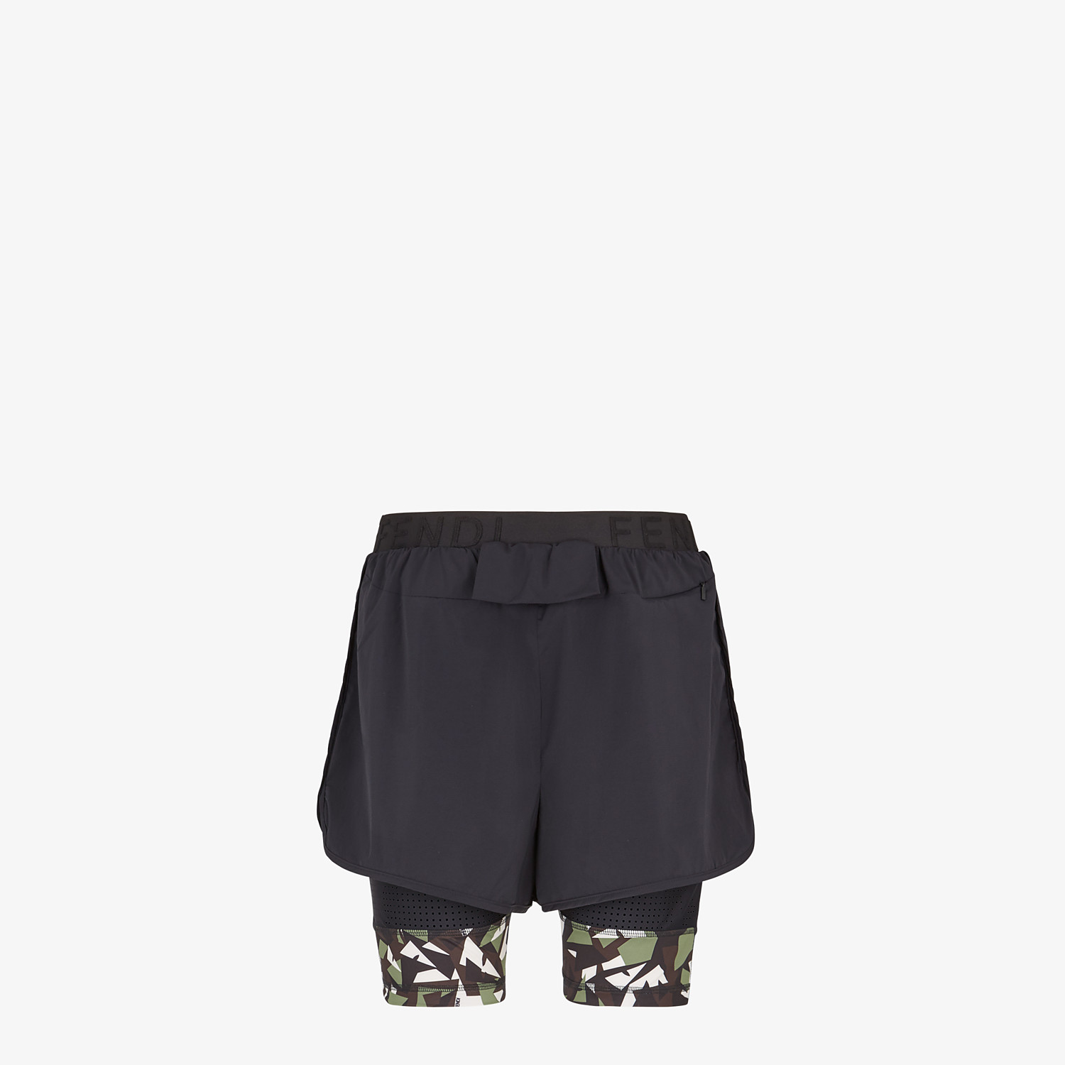 FENDI SHORTS - Black tech fabric shorts - view 2 detail