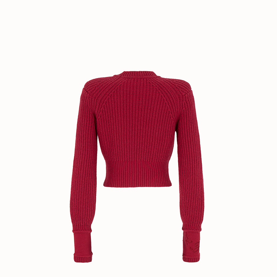 FENDI PULLOVER - Red cashmere jumper - view 2 detail