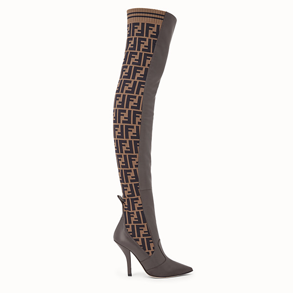 FENDI BOOTS - Brown leather thigh-high boots - view 1 small thumbnail