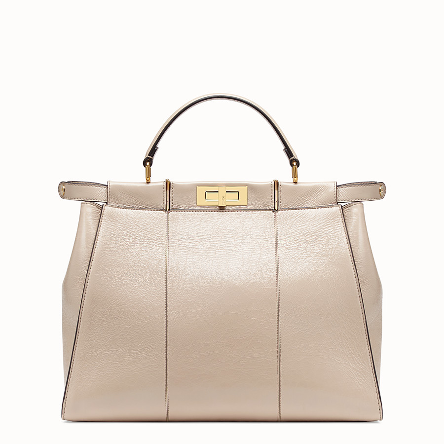 FENDI PEEKABOO ICONIC LARGE - Beige leather bag - view 3 detail