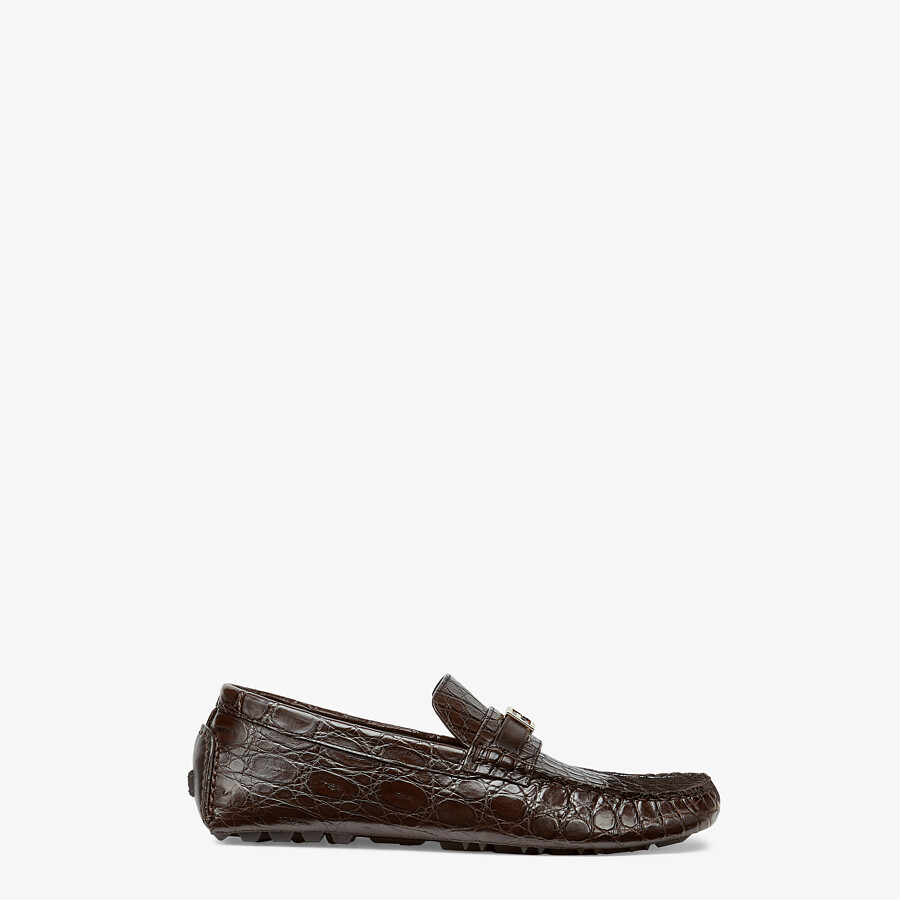 FENDI LOAFERS - Brown caiman drivers - view 1 detail