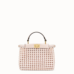 FENDI PEEKABOO ICONIC MINI - Tasche aus Interlace Leder in Rosa - view 1 thumbnail
