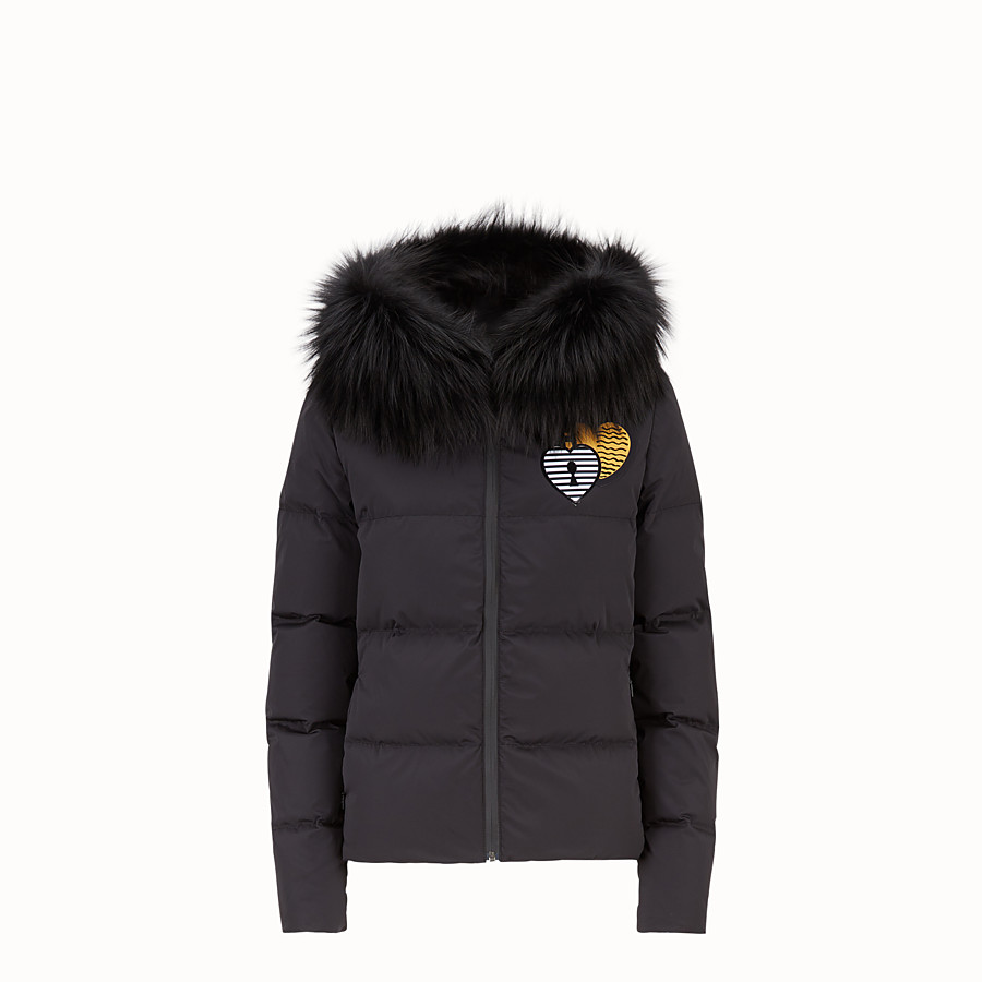 FENDI DOWN JACKET - Black tech fabric down jacket - view 1 detail