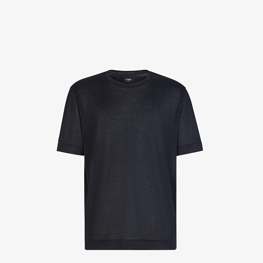 FENDI T-SHIRT - Black silk T-shirt - view 1 detail
