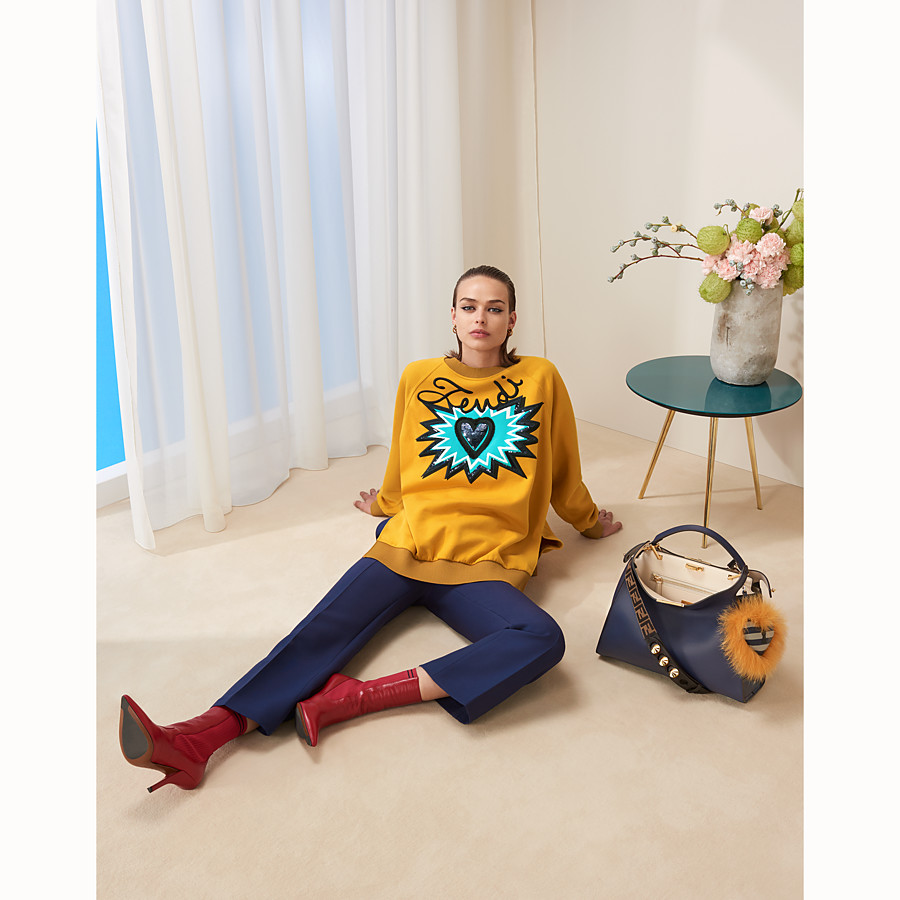 FENDI SWEAT-SHIRT - Sweat-shirt en coton jaune - view 4 detail