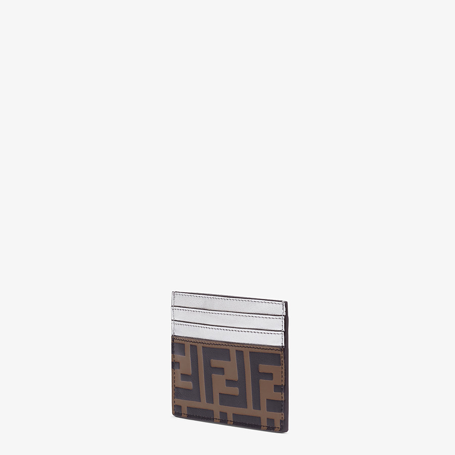 FENDI CARD HOLDER - Silver leather flat card holder - view 2 detail