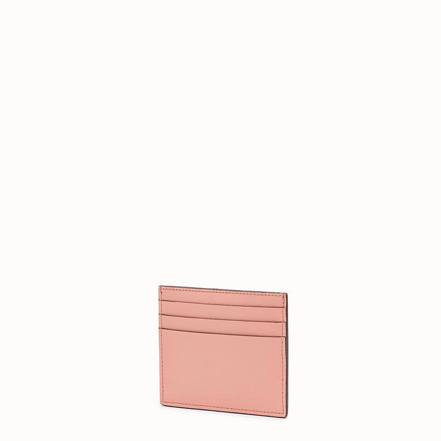 FENDI CARD HOLDER - Beige leather flat card holder with exotic details - view 2 detail