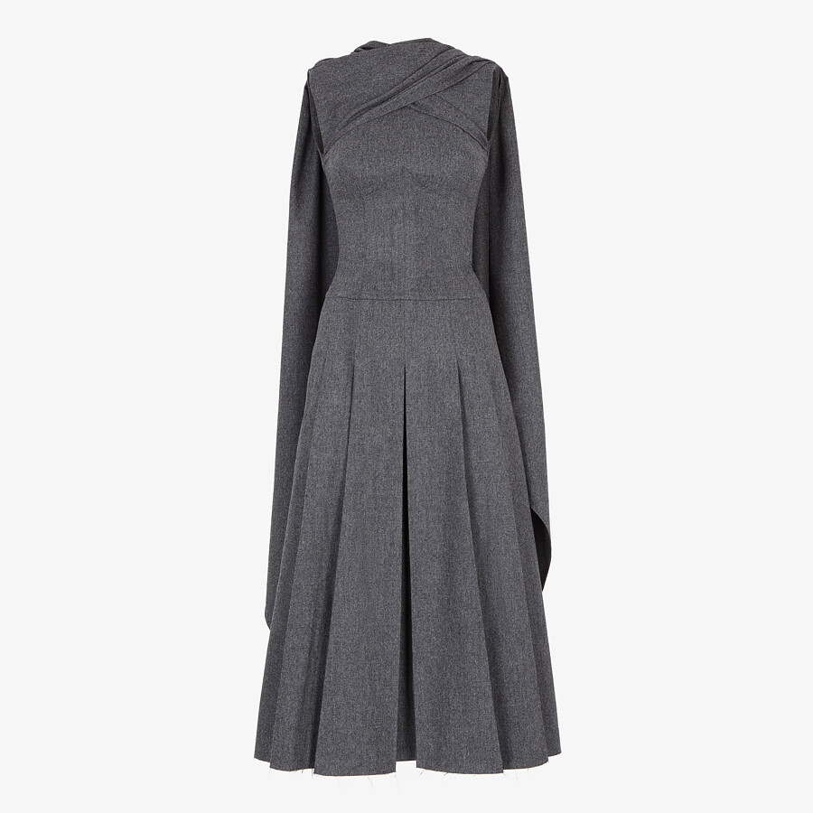 FENDI DRESS - Gray flannel dress - view 1 detail