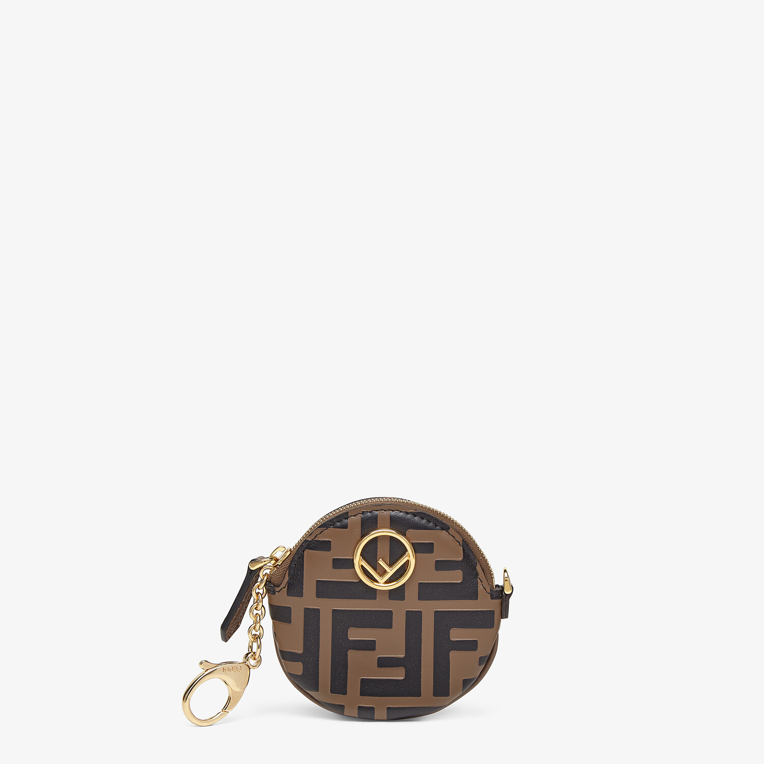 FENDI COIN CASE - Brown leather coin purse - view 1 detail