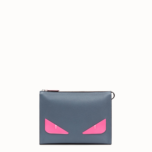 FENDI CLUTCH - Grey Romano leather pochette - view 1 small thumbnail
