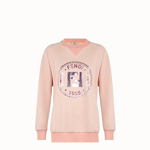 FENDI SWEATSHIRT - Pink cotton sweatshirt - view 1 small thumbnail