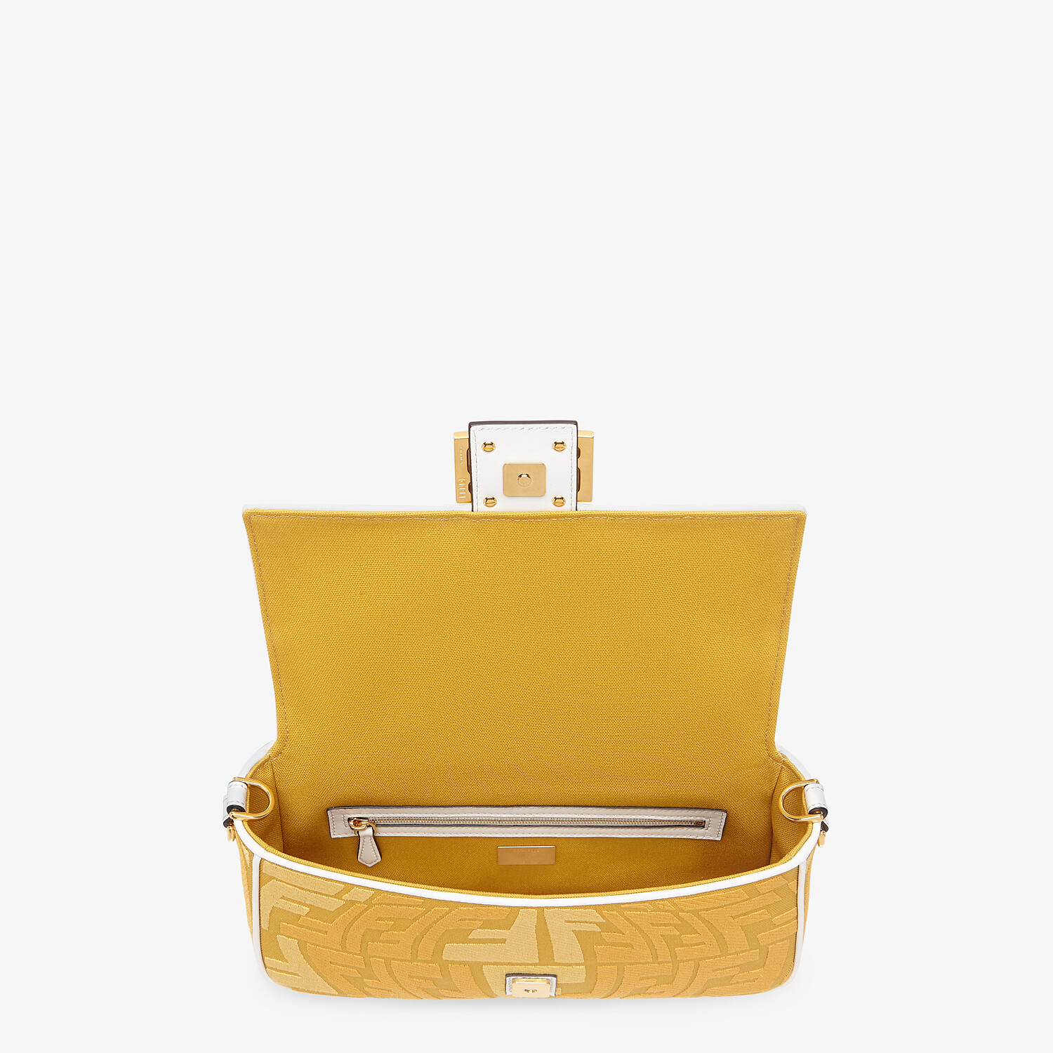 FENDI BAGUETTE - Embroidered yellow canvas bag - view 4 detail