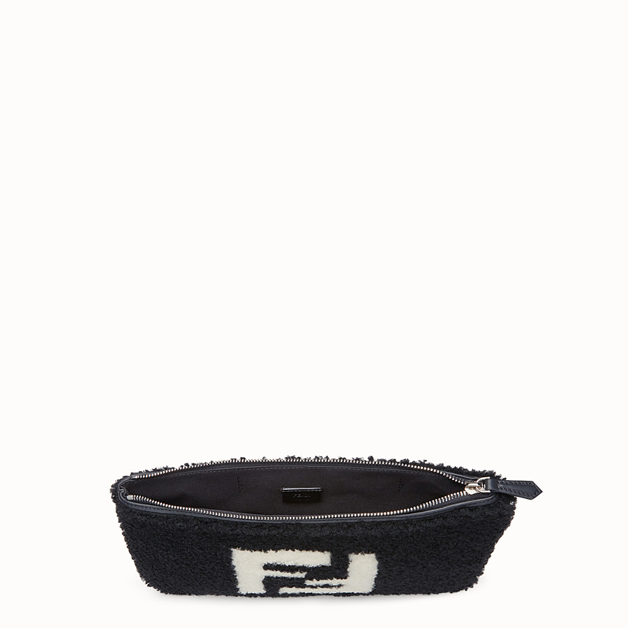 FENDI POUCH - Black sheepskin pochette - view 3 detail