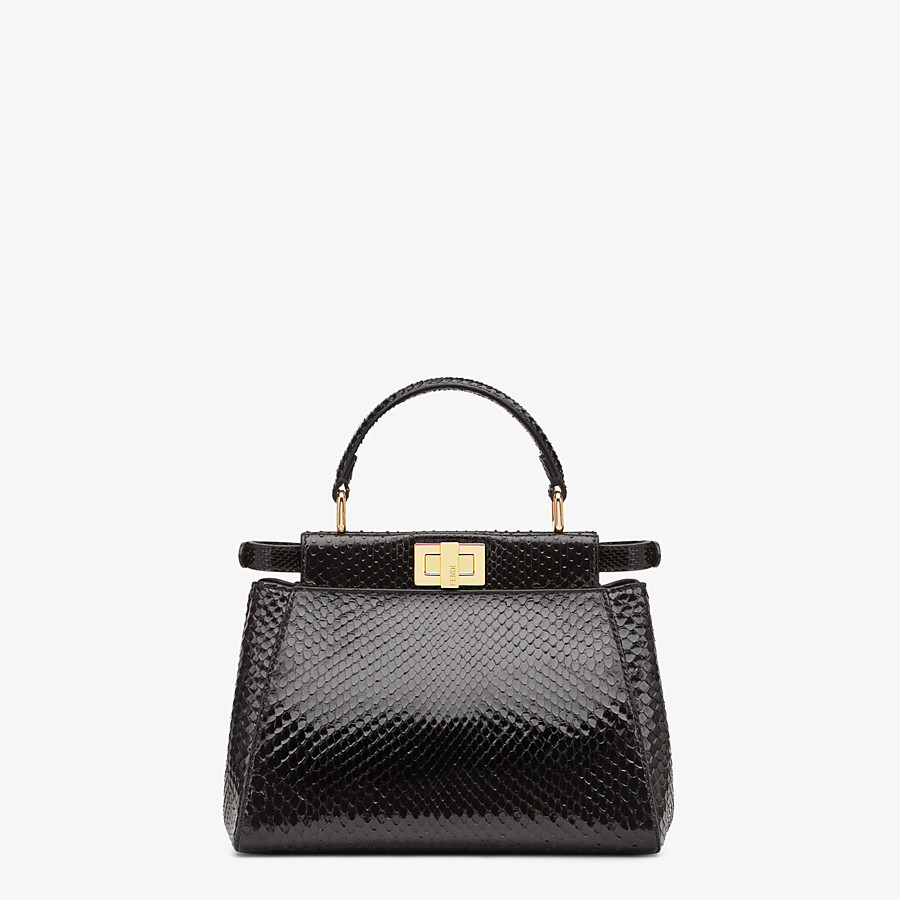 FENDI PEEKABOO ICONIC MINI - Black python handbag. - view 3 detail