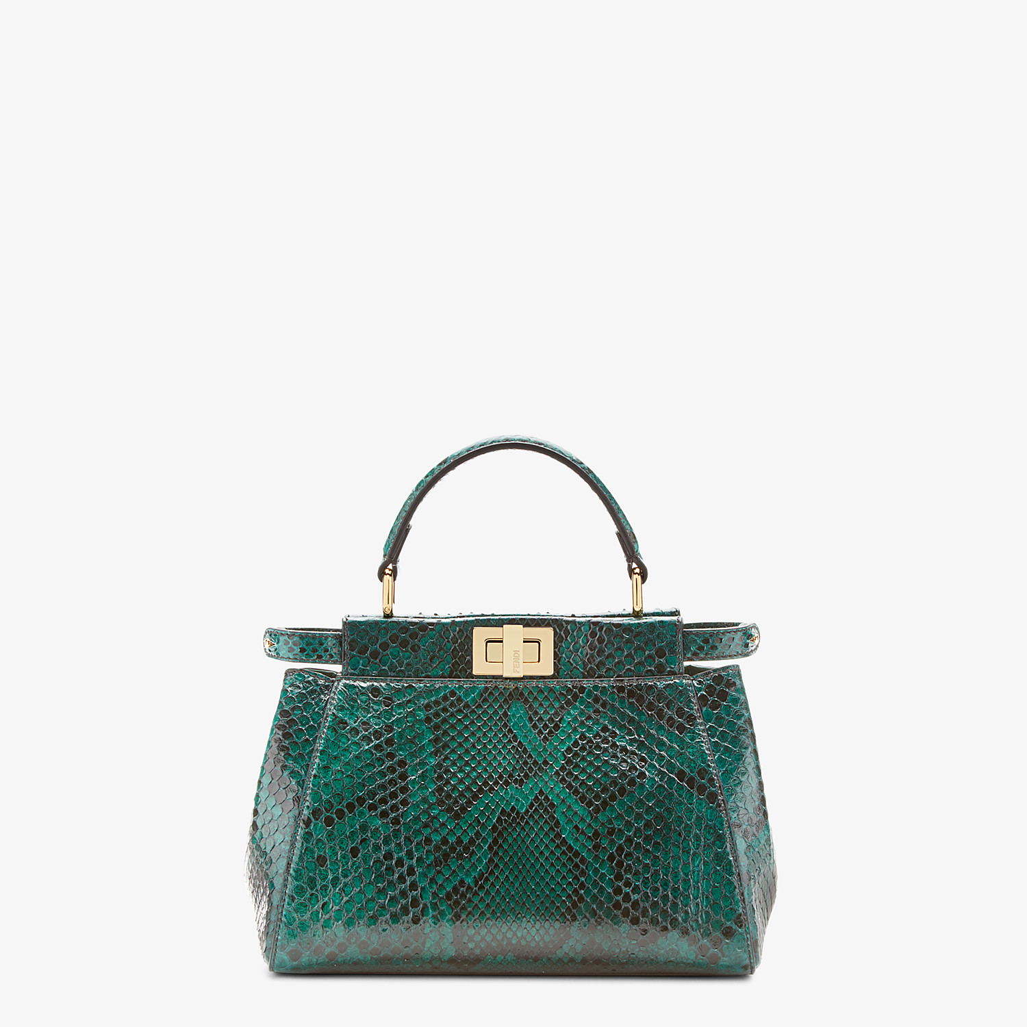 FENDI PEEKABOO ICONIC MINI - Green python bag - view 1 detail