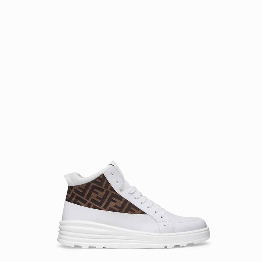 FENDI SNEAKERS - White leather mid tops - view 1 detail