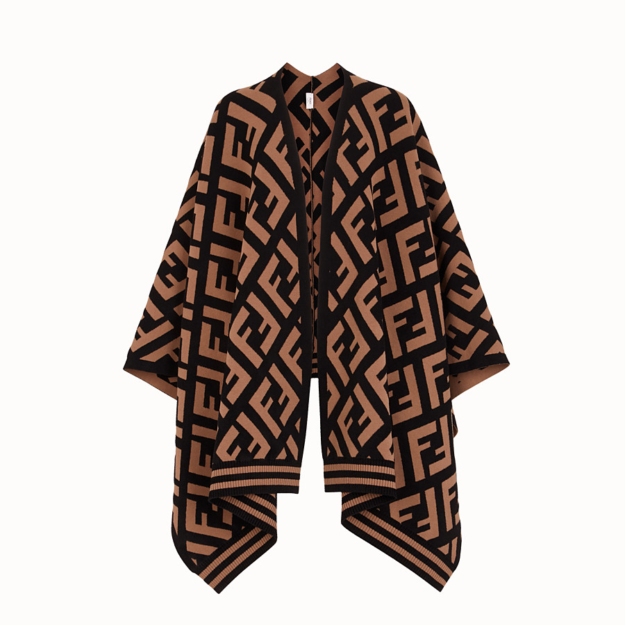 FENDI FF PONCHO - Brown knit poncho - view 1 detail